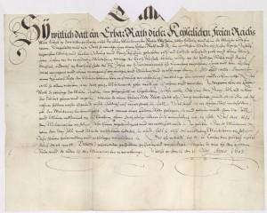 Dienstvertrag von 1603 des Münzmeisters Statius Wessel, Stadtarchiv Lübeck