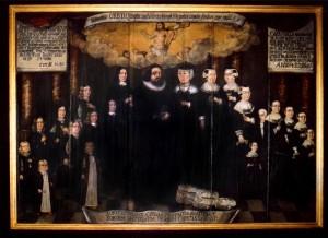 Gemälde in der Trinitatis-Kirche in Altona, Arnold Schepler und Margarethe Rist mit ihren 19 lebenden und 5 totgeborenen oder früh verstorbenen Kindern.