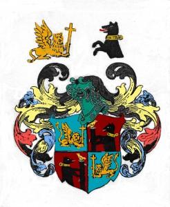 Wappen von Johann Marquard, Stadtarchiv Lübeck, koloriert nach handschriflichen Farbangaben, hervorgehoben der Bär und der venezianische Löwe