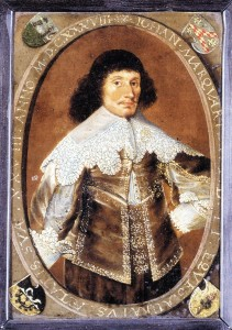 Johann Marquard um 1638; Museum St. Annen, li. oben das Stammwappen (Bär kaum zu erkennen); re oben das Wappen (s.u.) seiner Familie mütterlicherseits (Lüdinghusen)